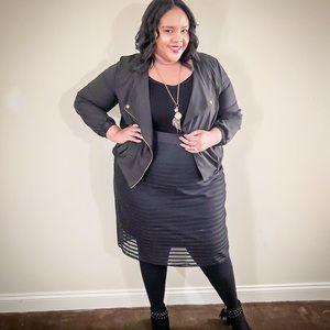 Black Layered Pencil Skirt